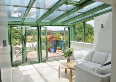 bi-folding green garden room